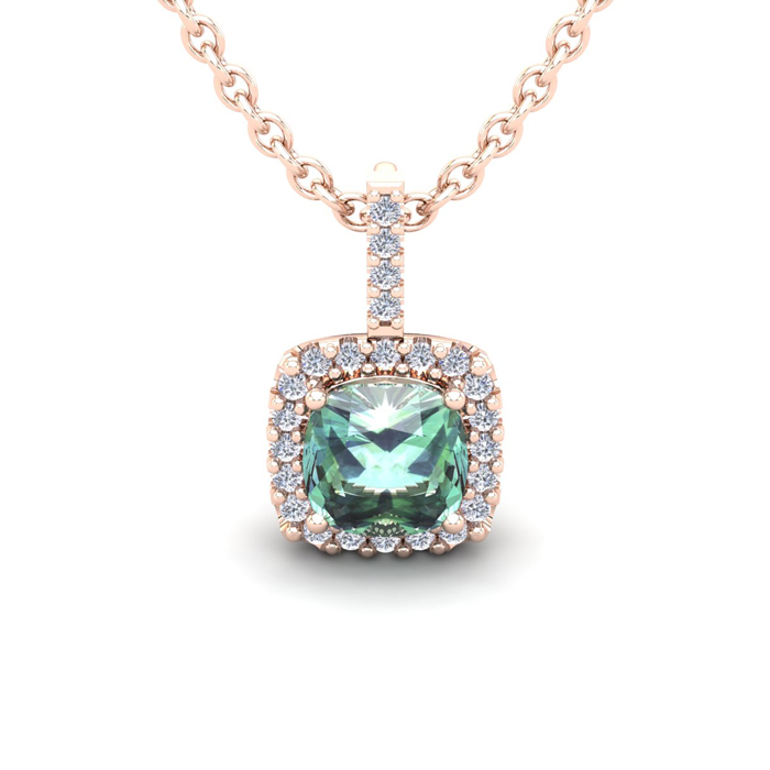 1 Carat Cushion Cut Green Amethyst & Halo Diamond Necklace in 14K