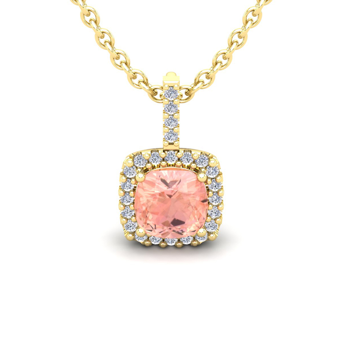 1 Carat Cushion Cut Morganite & Halo Diamond Necklace in 14K Yell