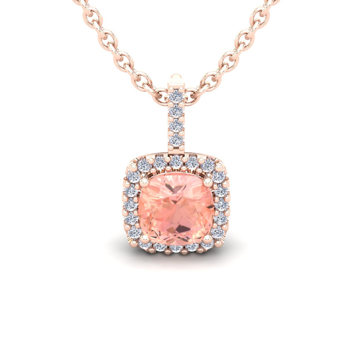 1 Carat Cushion Cut Morganite & Halo Diamond Necklace in 14K Rose