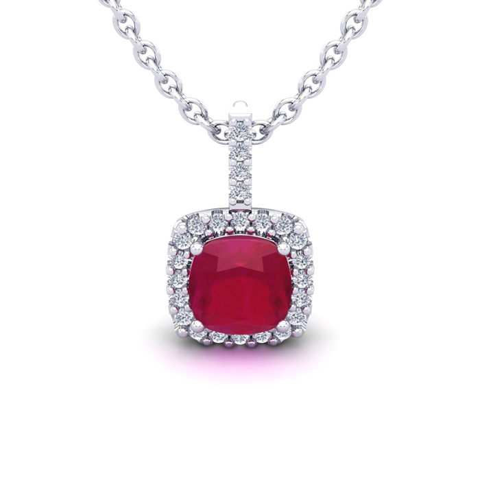 1.5 Carat Cushion Cut Ruby & Halo Diamond Necklace in 14K White G