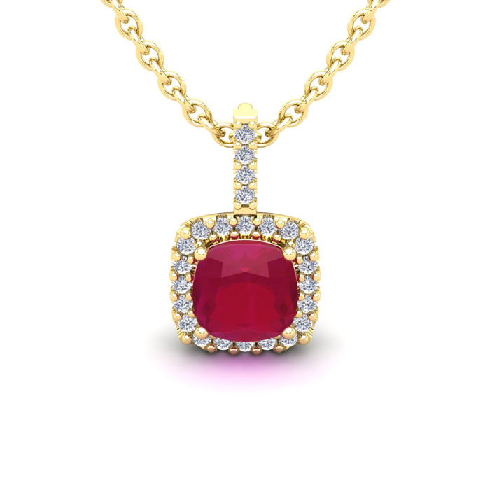 1.5 Carat Cushion Cut Ruby & Halo Diamond Necklace in 14K Yellow Gold (1.5 g), 18 Inches, I/J by SuperJeweler
