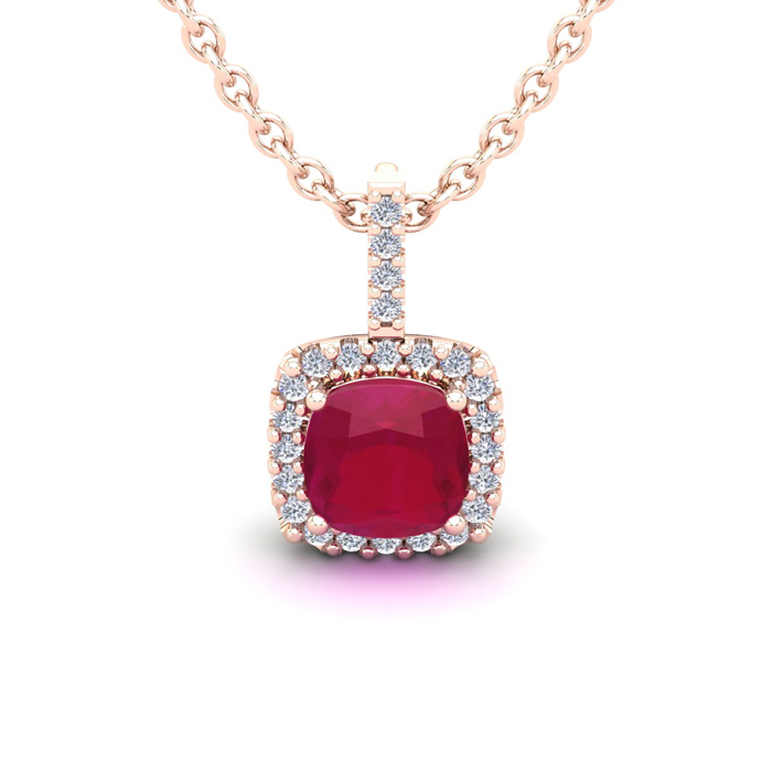 1.5 Carat Cushion Cut Ruby & Halo Diamond Necklace in 14K Rose Go