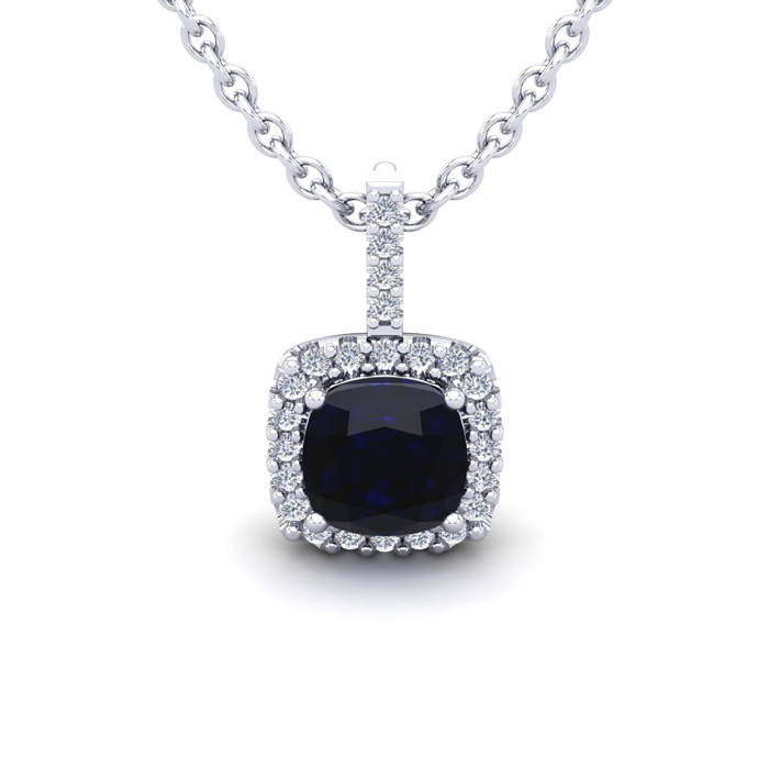 1.25 Carat Cushion Cut Sapphire & Halo Diamond Necklace in 14K Wh