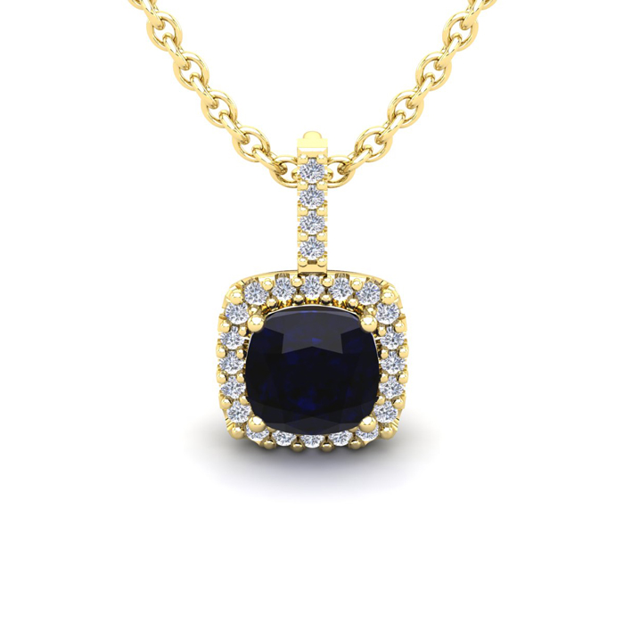 1.25 Carat Cushion Cut Sapphire & Halo Diamond Necklace in 14K Ye