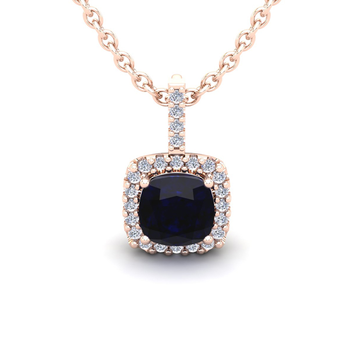 1.25 Carat Cushion Cut Sapphire & Halo Diamond Necklace in 14K Ro