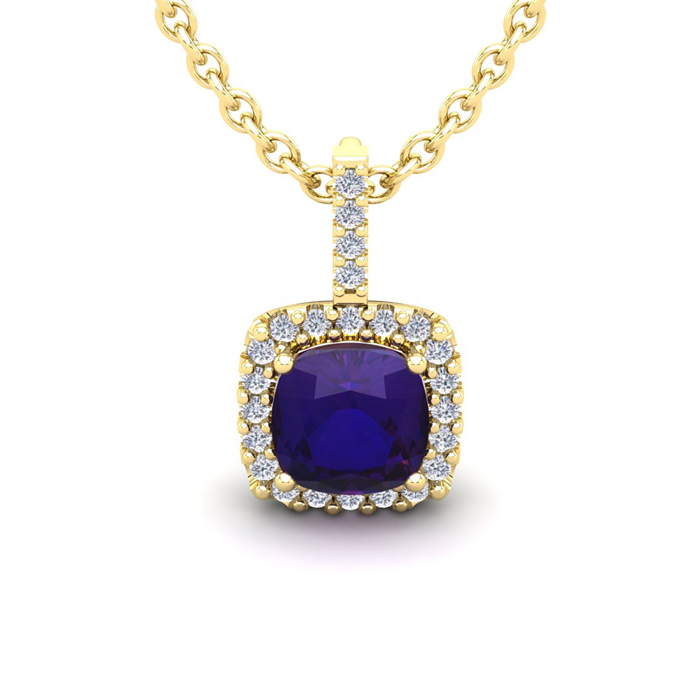 1 3/4 Carat Cushion Cut Amethyst & Halo Diamond Necklace in 14K Y