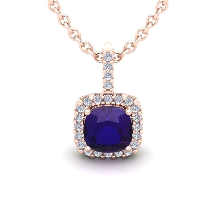 1 3/4 Carat Cushion Cut Amethyst & Halo Diamond Necklace in 14K R