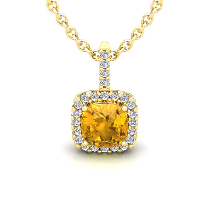 1 3/4 Carat Cushion Cut Citrine & Halo Diamond Necklace in 14K Ye