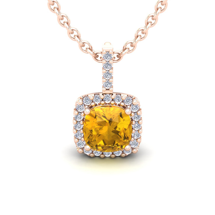 1 3/4 Carat Cushion Cut Citrine & Halo Diamond Necklace in 14K Ro
