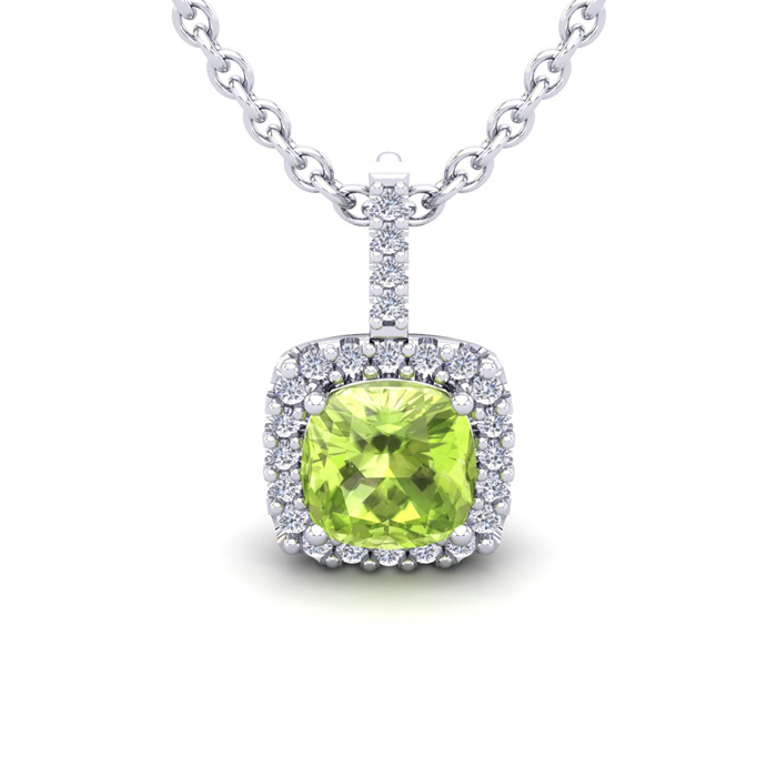 1 3/4 Carat Cushion Cut Peridot & Halo Diamond Necklace in 14K Wh