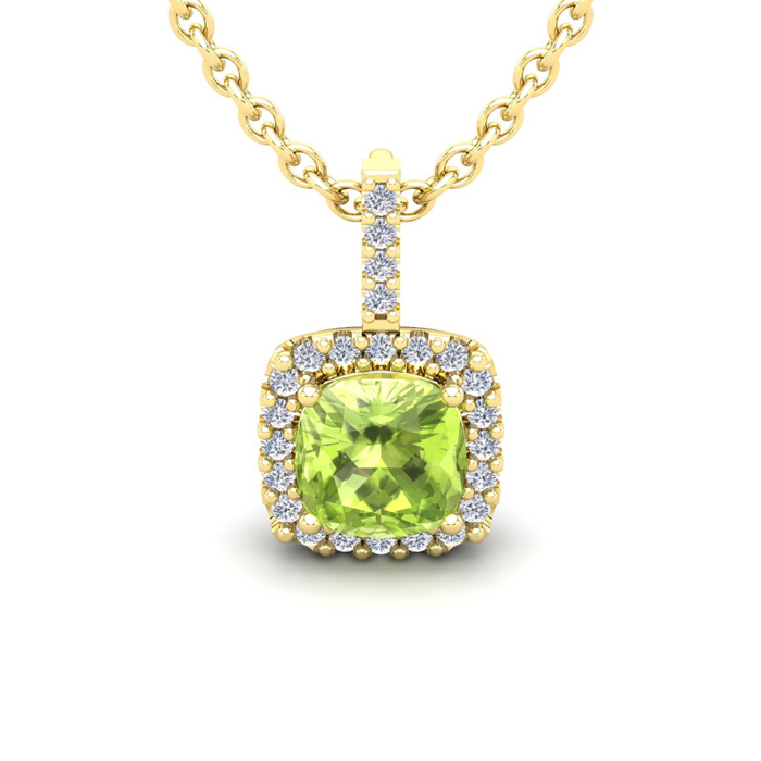 1 3/4 Carat Cushion Cut Peridot & Halo Diamond Necklace in 14K Ye