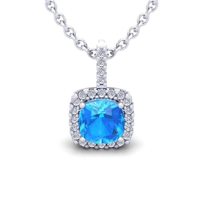 2 Carat Cushion Cut Blue Topaz & Halo Diamond Necklace in 14K Whi