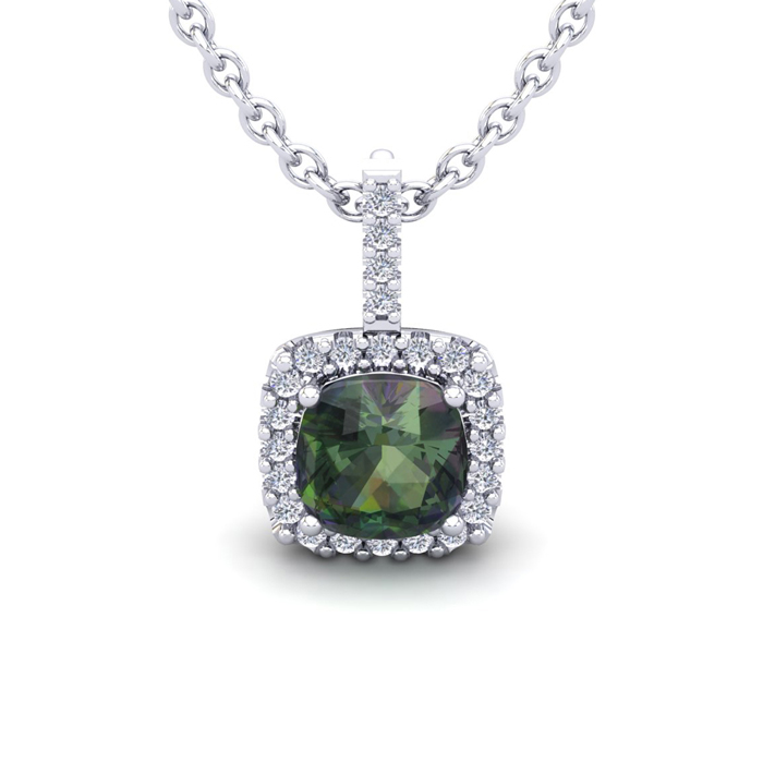 2 Carat Cushion Cut Mystic Topaz & Halo Diamond Necklace in 14K W