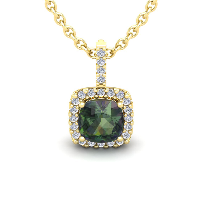 2 Carat Cushion Cut Mystic Topaz & Halo Diamond Necklace in 14K Yellow Gold (2 g), 18 Inches, I/J by SuperJeweler