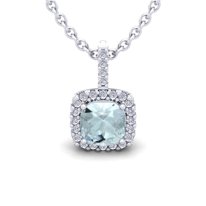 1 3/4 Carat Cushion Cut Aquamarine and Halo Diamond Necklace In 14 Karat Whi..