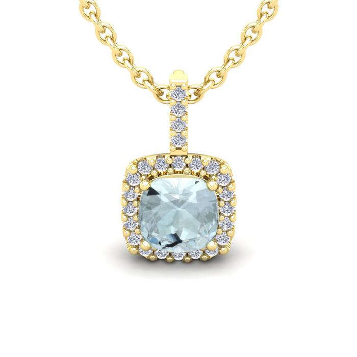 1 3/4 Carat Cushion Cut Aquamarine & Halo Diamond Necklace in 14K
