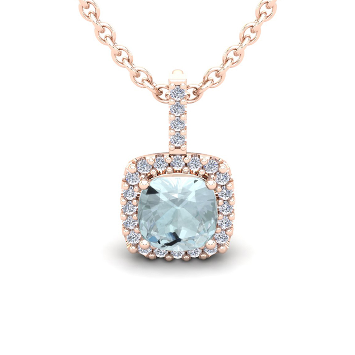 1 3/4 Carat Cushion Cut Aquamarine & Halo Diamond Necklace in 14K