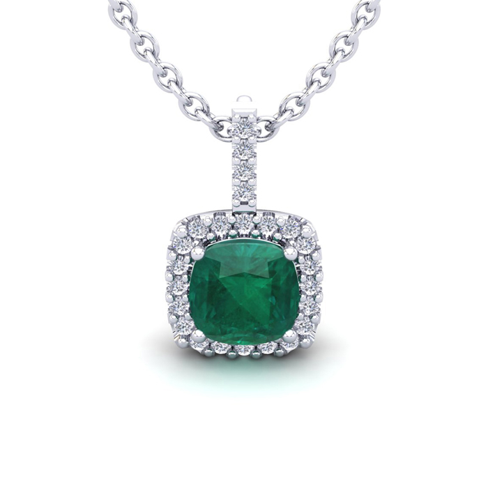 2 Carat Cushion Cut Emerald & Halo Diamond Necklace in 14K White