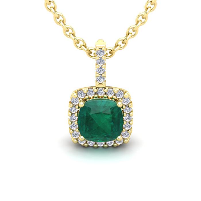 2 Carat Cushion Cut Emerald & Halo Diamond Necklace in 14K Yellow