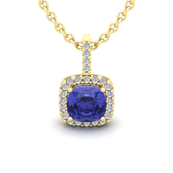 1 3/4 Carat Cushion Cut Tanzanite & Halo Diamond Necklace in 14K