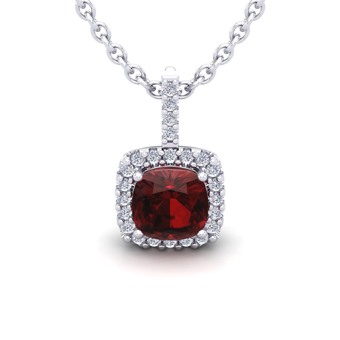1 3/4 Carat Cushion Cut Garnet & Halo Diamond Necklace in 14K Whi