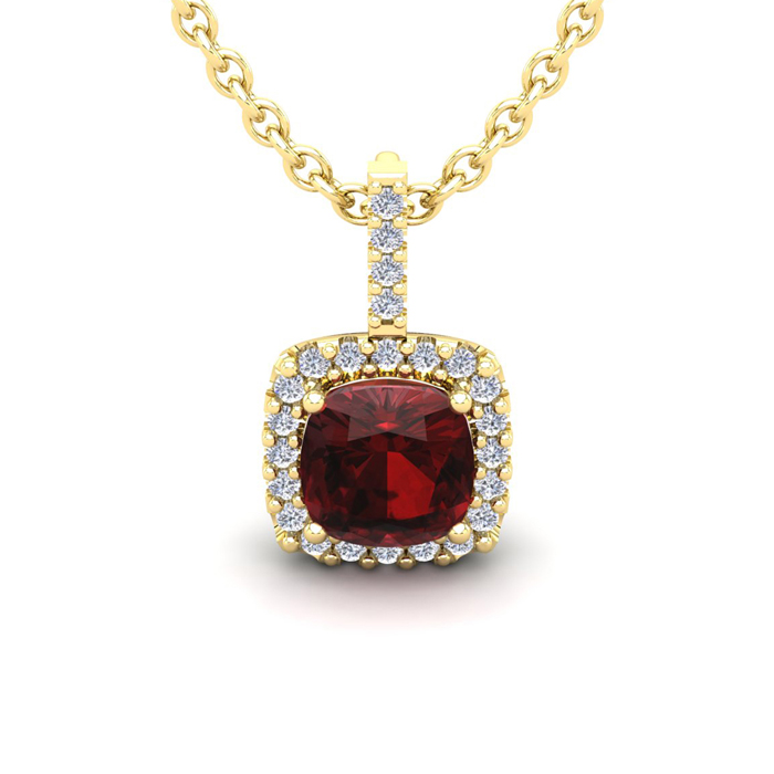 1 3/4 Carat Cushion Cut Garnet & Halo Diamond Necklace in 14K Yel