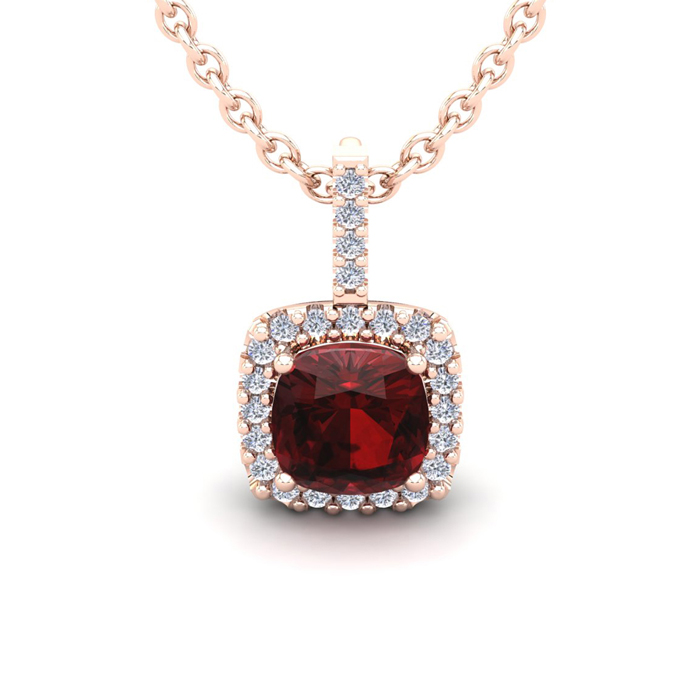 1 3/4 Carat Cushion Cut Garnet & Halo Diamond Necklace in 14K Ros
