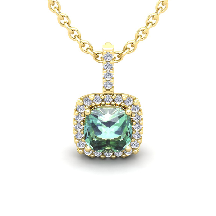 1.5 Carat Cushion Cut Green Amethyst & Halo Diamond Necklace in 14K Yellow Gold (2 g), 18 Inches, I/J by SuperJeweler