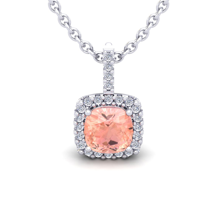 2 Carat Cushion Cut Morganite & Halo Diamond Necklace in 14K Whit