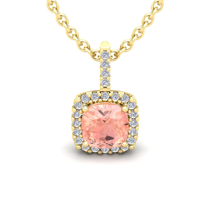 2 Carat Cushion Cut Morganite & Halo Diamond Necklace in 14K Yell