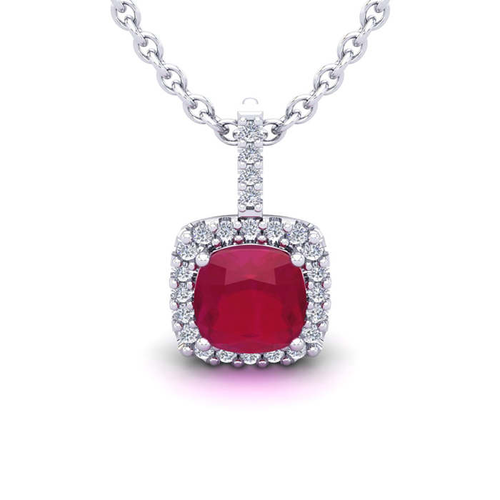 2 Carat Cushion Cut Ruby & Halo Diamond Necklace in 14K White Gol