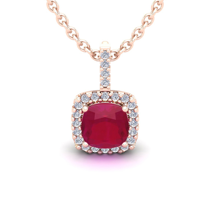 2 Carat Cushion Cut Ruby & Halo Diamond Necklace in 14K Rose Gold