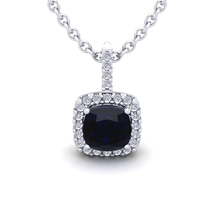 2 Carat Cushion Cut Sapphire & Halo Diamond Necklace in 14K White