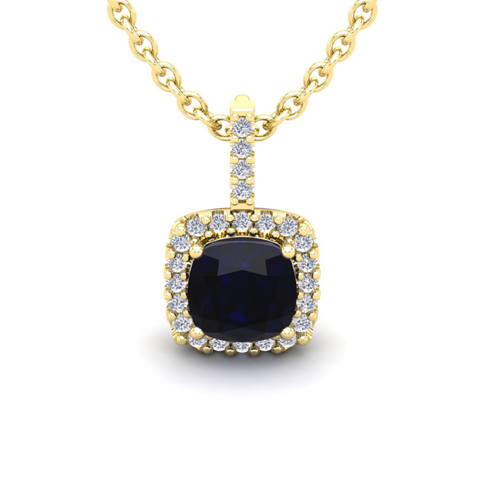 2 Carat Cushion Cut Sapphire & Halo Diamond Necklace in 14K Yellow Gold (2 g), 18 Inches, I/J by SuperJeweler