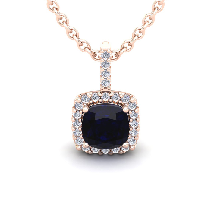 2 Carat Cushion Cut Sapphire & Halo Diamond Necklace in 14K Rose