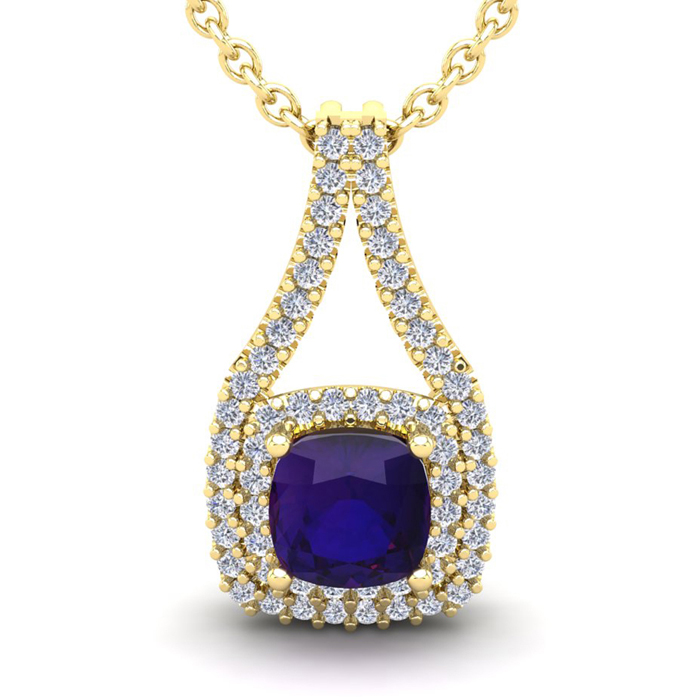 1 Carat Cushion Cut Amethyst & Double Halo Diamond Necklace in 14
