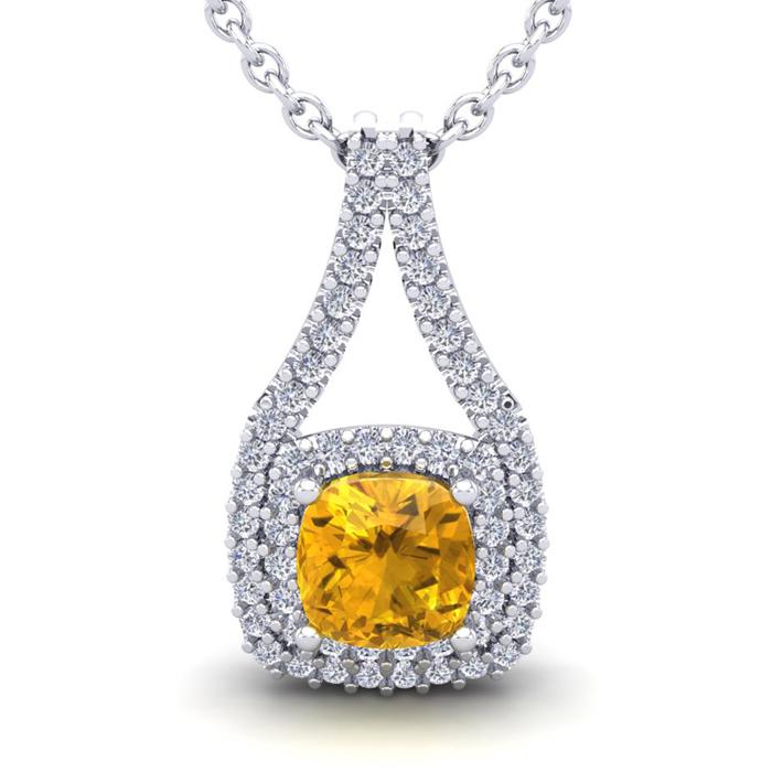 1 Carat Cushion Cut Citrine & Double Halo Diamond Necklace in 14K