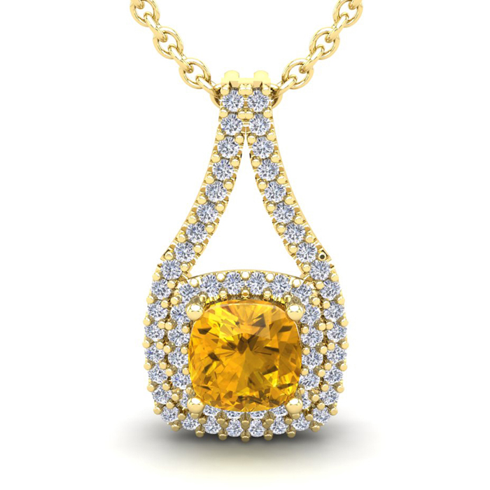 1 Carat Cushion Cut Citrine & Double Halo Diamond Necklace in 14K Yellow Gold (2.8 g), 18 Inches, I/J by SuperJeweler