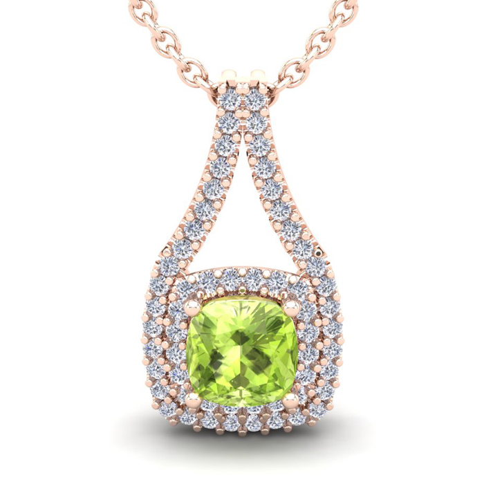 1 1/3 Carat Cushion Cut Peridot & Double Halo Diamond Necklace in