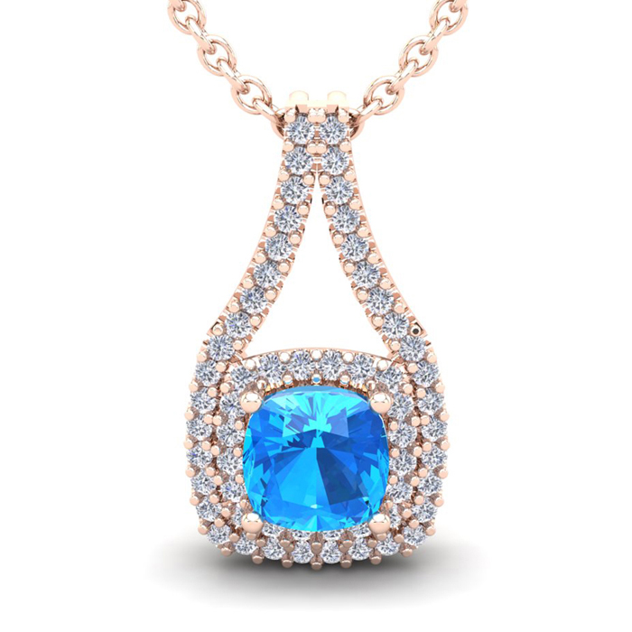 1.5 Carat Cushion Cut Blue Topaz & Double Halo Diamond Necklace i