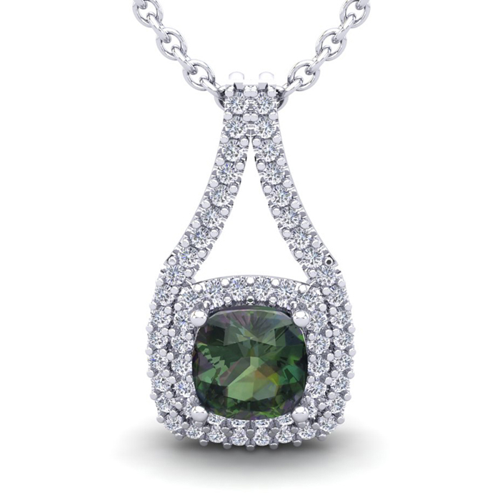 1 1/3 Carat Cushion Cut Mystic Topaz & Double Halo Diamond Neckla