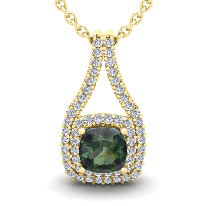 1 1/3 Carat Cushion Cut Mystic Topaz & Double Halo Diamond Necklace in 14K Yellow Gold (2.8 g), 18 Inches, I/J by SuperJeweler