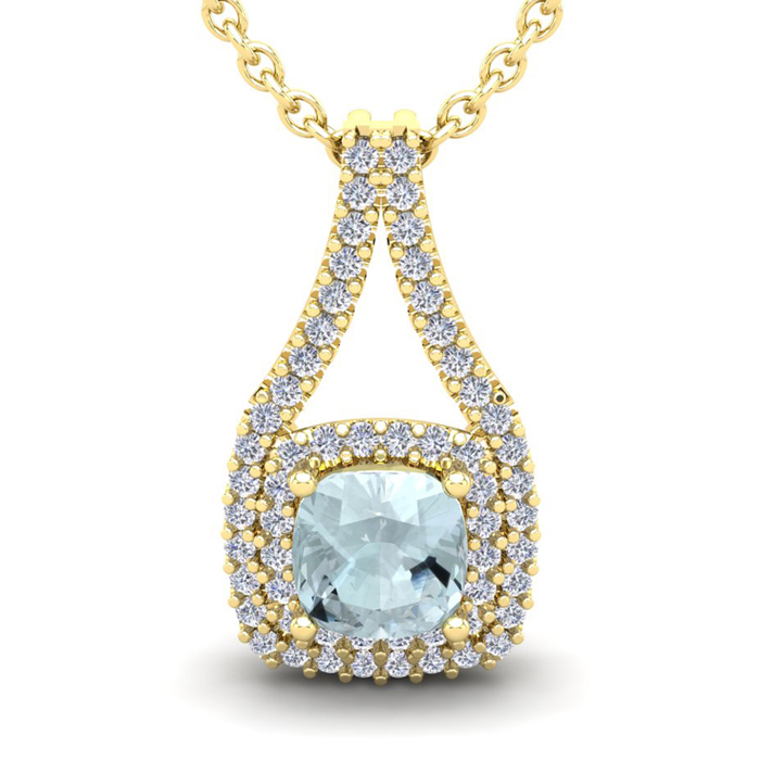 1 Carat Cushion Cut Aquamarine & Double Halo Diamond Necklace in