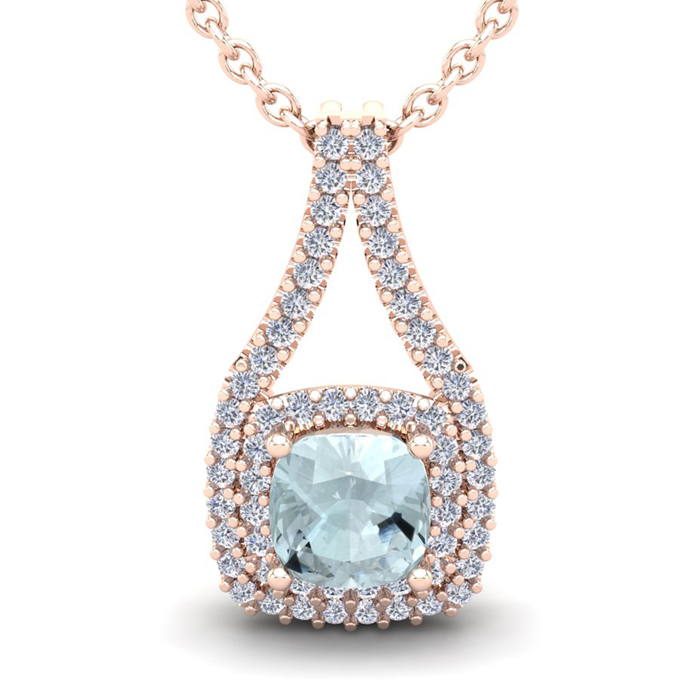 1 Carat Cushion Cut Aquamarine and Double Halo Diamond Necklace In 14 Karat ..