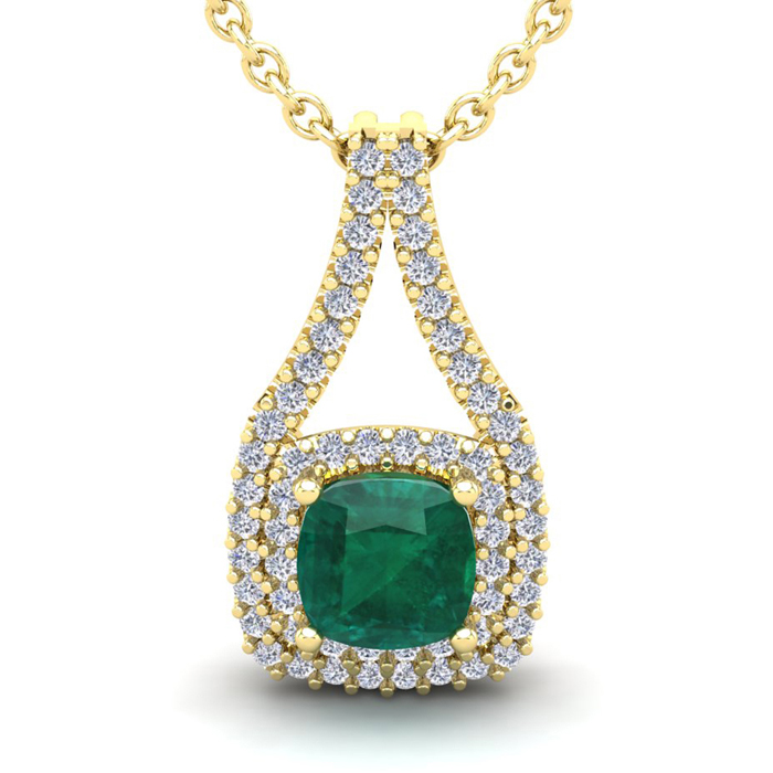 1.5 Carat Cushion Cut Emerald & Double Halo Diamond Necklace in 1