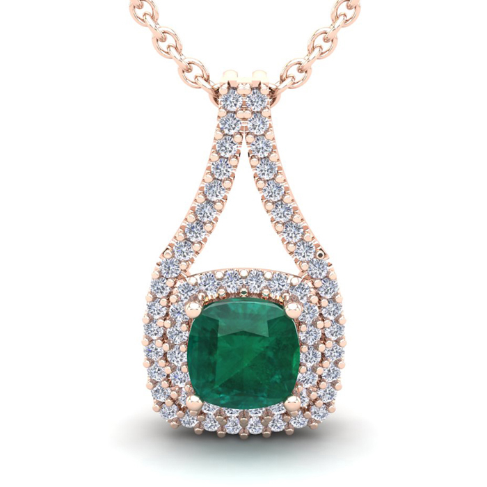 1.5 Carat Cushion Cut Emerald & Double Halo Diamond Necklace in 1