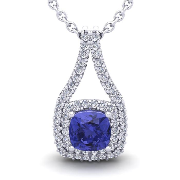 1 1/3 Carat Cushion Cut Tanzanite & Double Halo Diamond Necklace