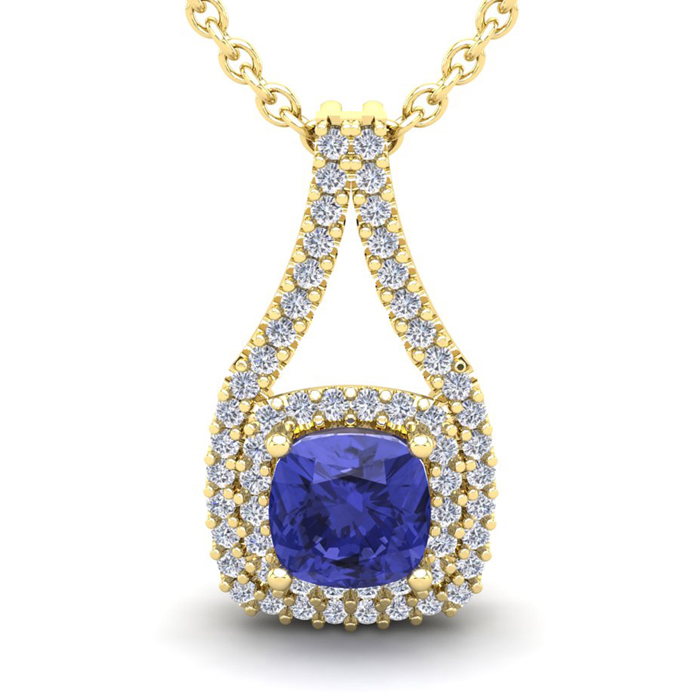 1 1/3 Carat Cushion Cut Tanzanite & Double Halo Diamond Necklace in 14K Yellow Gold (2.8 g), 18 Inches, I/J by SuperJeweler