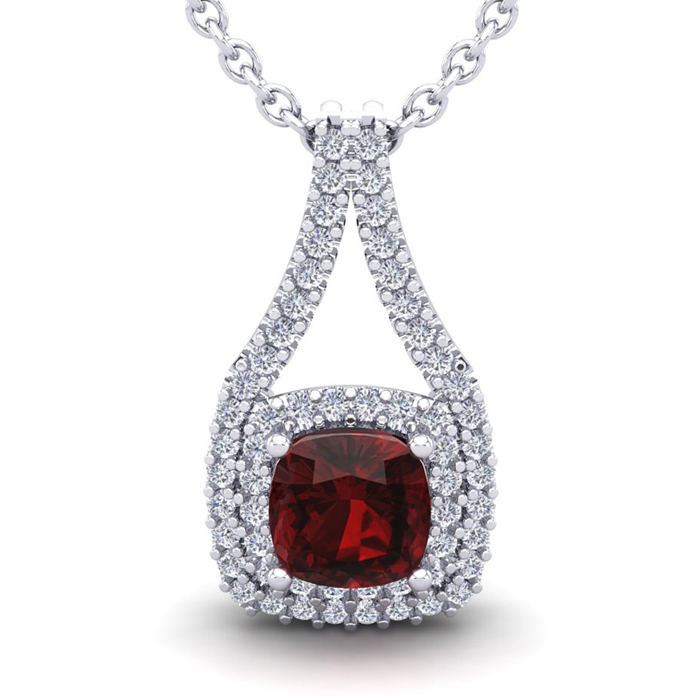 1.5 Carat Cushion Cut Garnet & Double Halo Diamond Necklace in 14