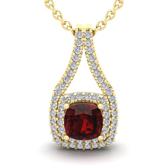 1.5 Carat Cushion Cut Garnet & Double Halo Diamond Necklace in 14